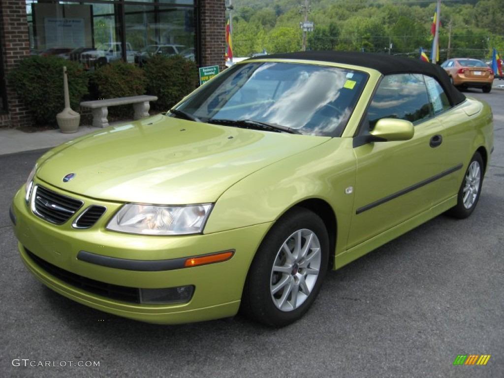 lime yellow metallic 2005 saab 9 3 arc convertible. Black Bedroom Furniture Sets. Home Design Ideas