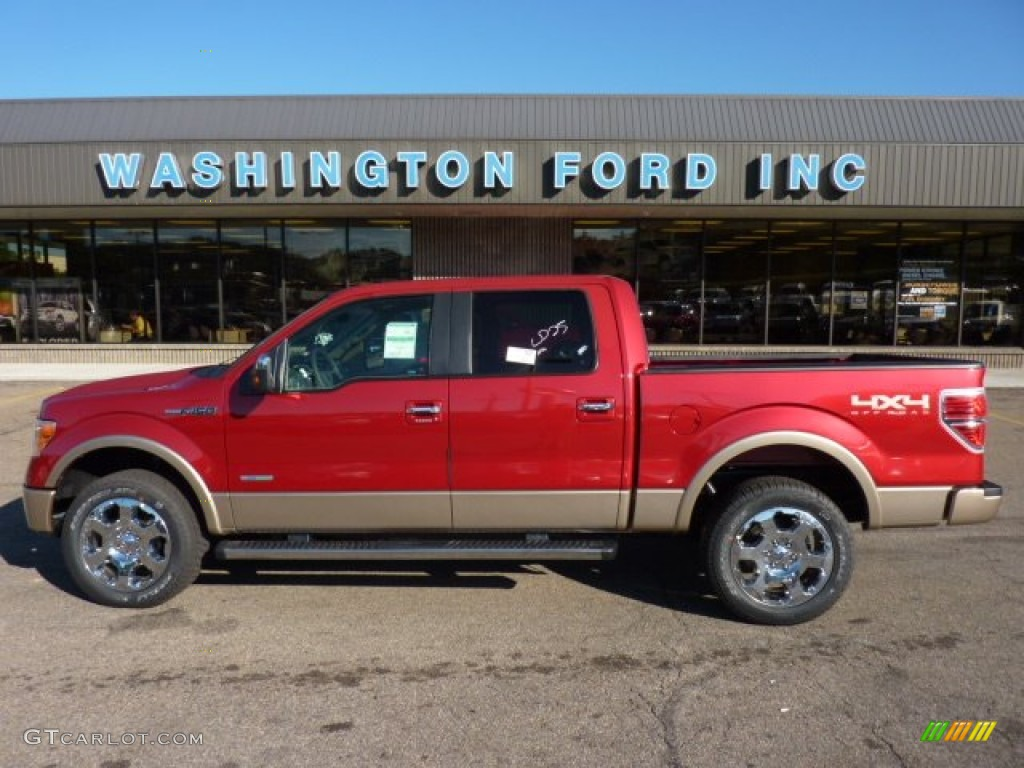 2011 f150 lariat supercrew 4x4 red candy metallic pale adobe photo 1