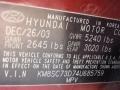 2004 Merlot Red Hyundai Santa Fe GLS 4WD  photo #16