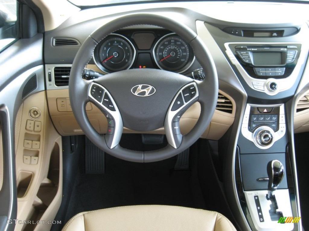 2012 Hyundai Elantra Limited Beige Dashboard Photo #53134300
