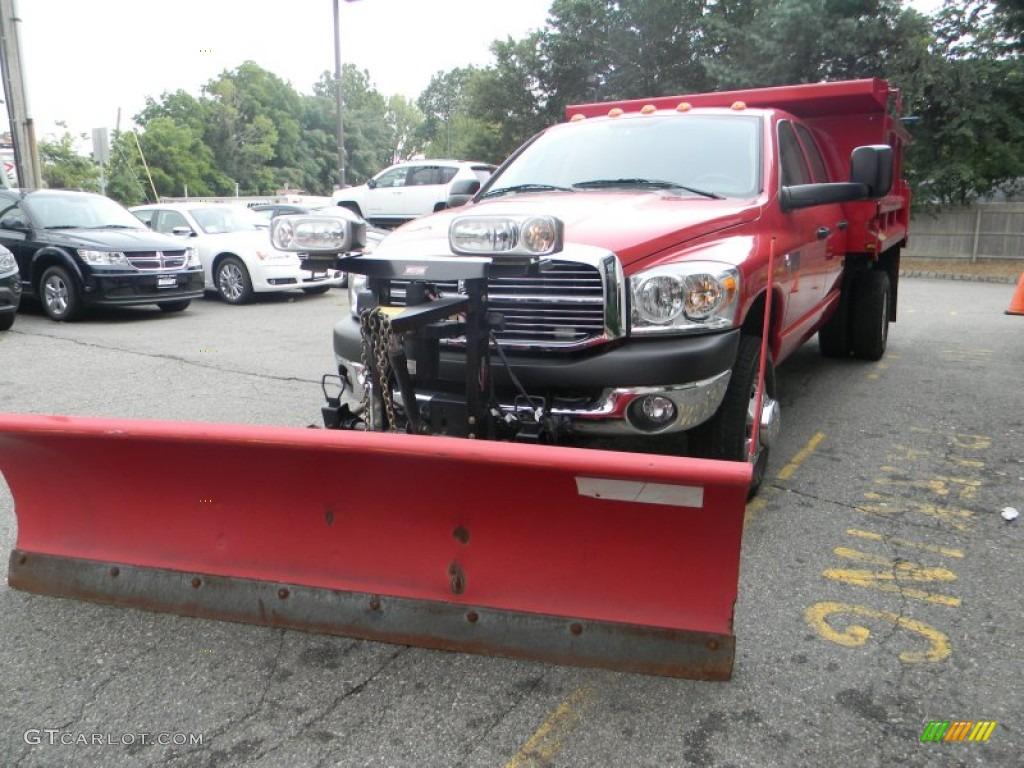 2009 Ram 3500 SLT Quad Cab 4x4 Chassis Dump Truck - Flame Red / Medium Slate Gray photo #1