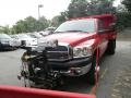 2009 Flame Red Dodge Ram 3500 SLT Quad Cab 4x4 Chassis Dump Truck  photo #2