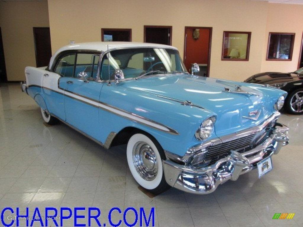 1956 nassau blue india ivory chevrolet bel air 4 door for 1956 chevy belair 4 door hardtop for sale
