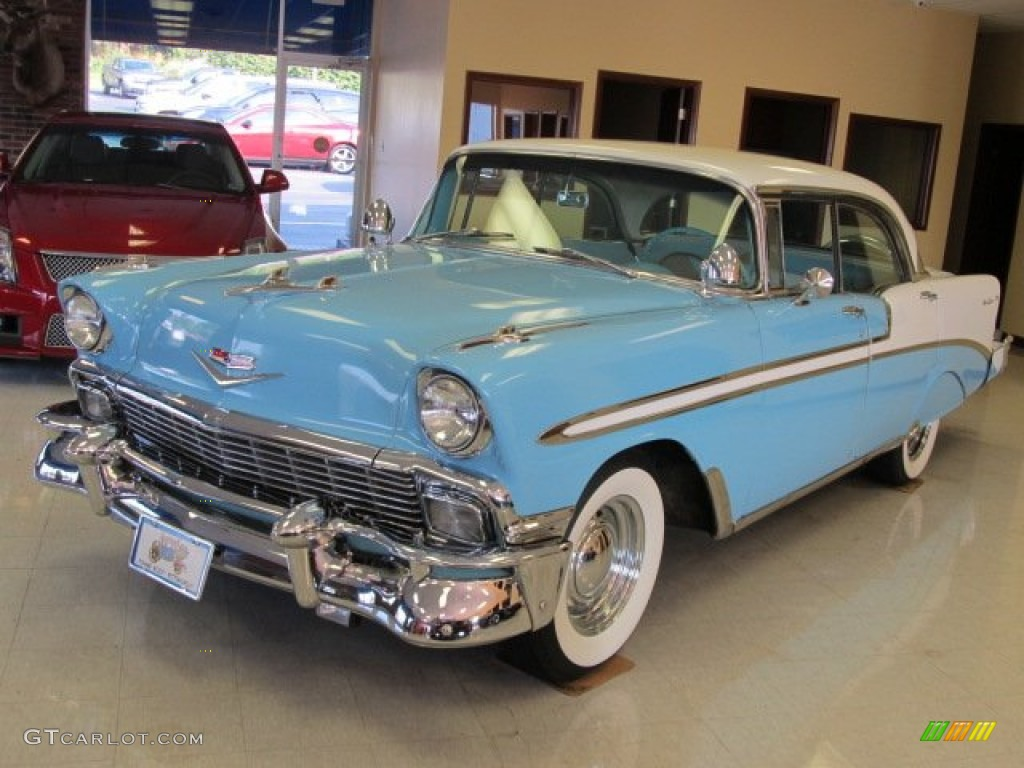 1956 nassau blue india ivory chevrolet bel air 4 door for 1956 chevy 4 door