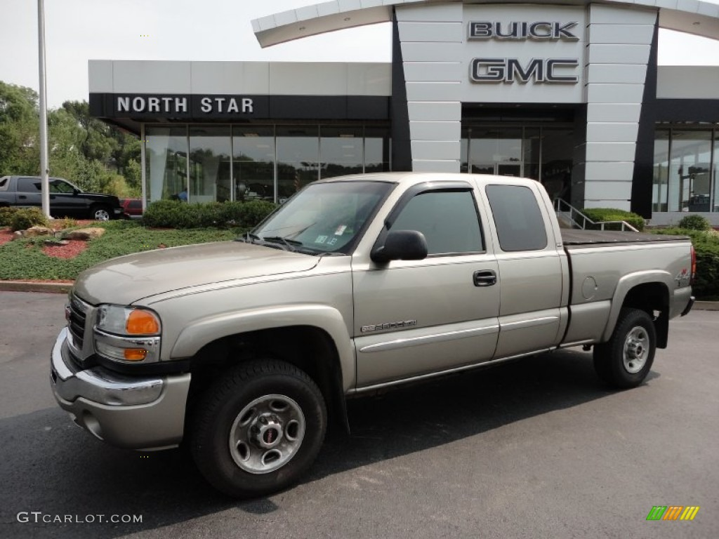 2003 Sierra 2500HD SLE Extended Cab 4x4 - Pewter Metallic / Dark Pewter photo #1
