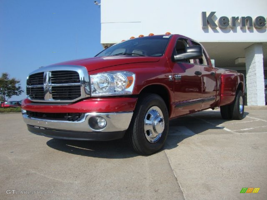 2007 Ram 3500 SLT Quad Cab Dually - Inferno Red Crystal Pearl / Medium Slate Gray photo #1