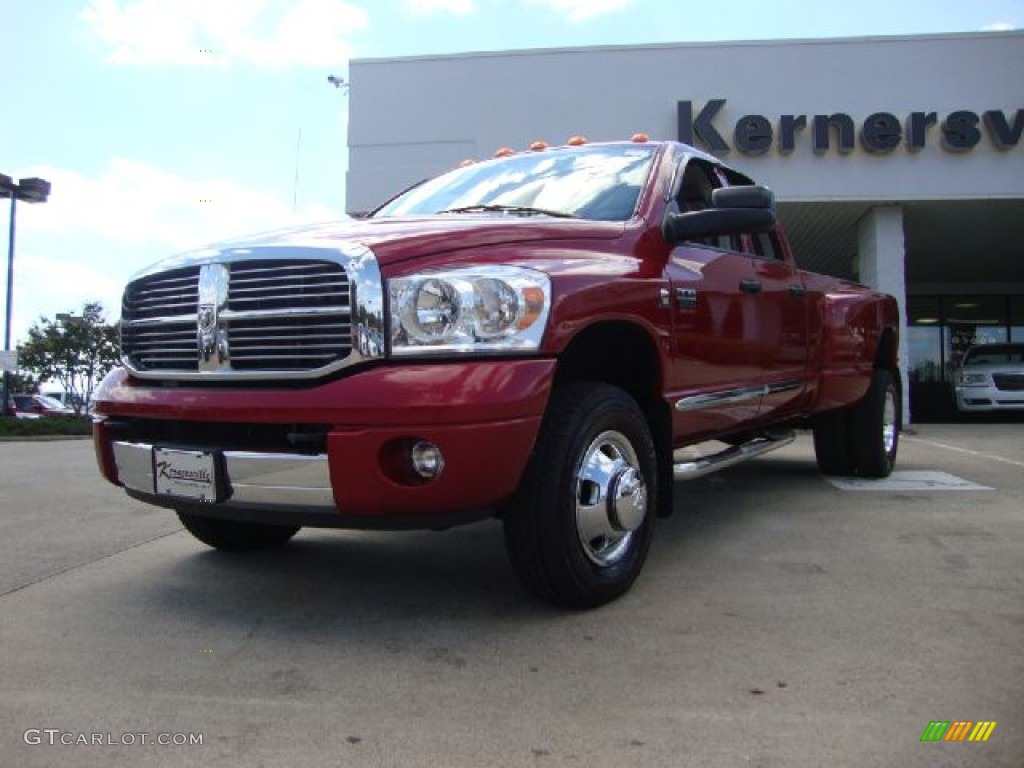 2007 Ram 3500 Laramie Quad Cab 4x4 Dually - Inferno Red Crystal Pearl / Medium Slate Gray photo #1