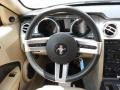 Light Parchment 2006 Ford Mustang V6 Premium Coupe Steering Wheel