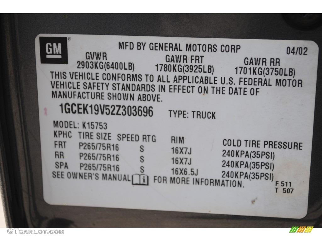 2002 Chevrolet Silverado 1500 LS Extended Cab 4x4 Info Tag Photos