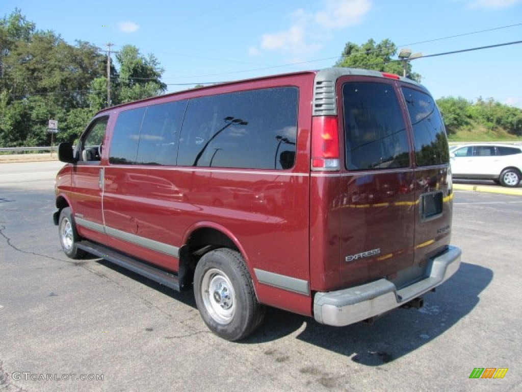 Dark carmine red metallic 1999 chevrolet express 2500 ls passenger van exterior photo 53459925
