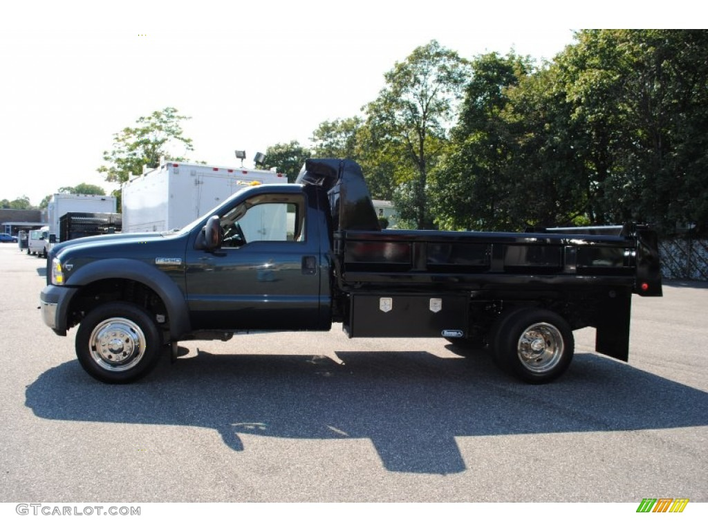Dark Green Satin Metallic 2005 Ford F550 Super Duty Xl Regular Cab 2004 4x4 Chassis Dump Truck