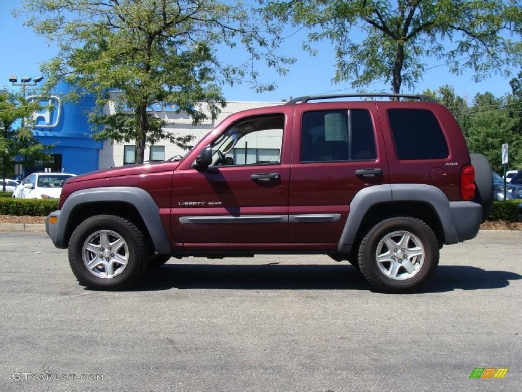2002 dark garnet red pearlcoat jeep liberty sport 4x4 #53464256