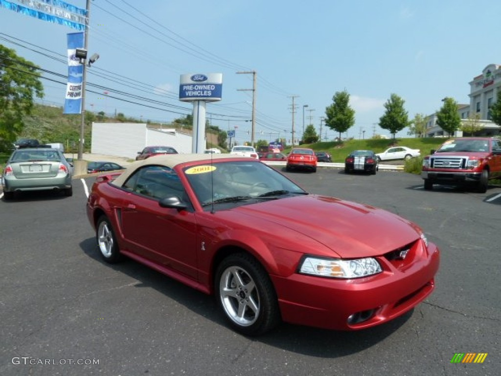 2001 Mustang Cobra Convertible - Laser Red Metallic / Medium Parchment photo #1