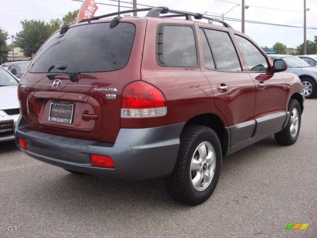 2005 Santa Fe LX 3.5   Merlot Dark Red / Gray Photo #6