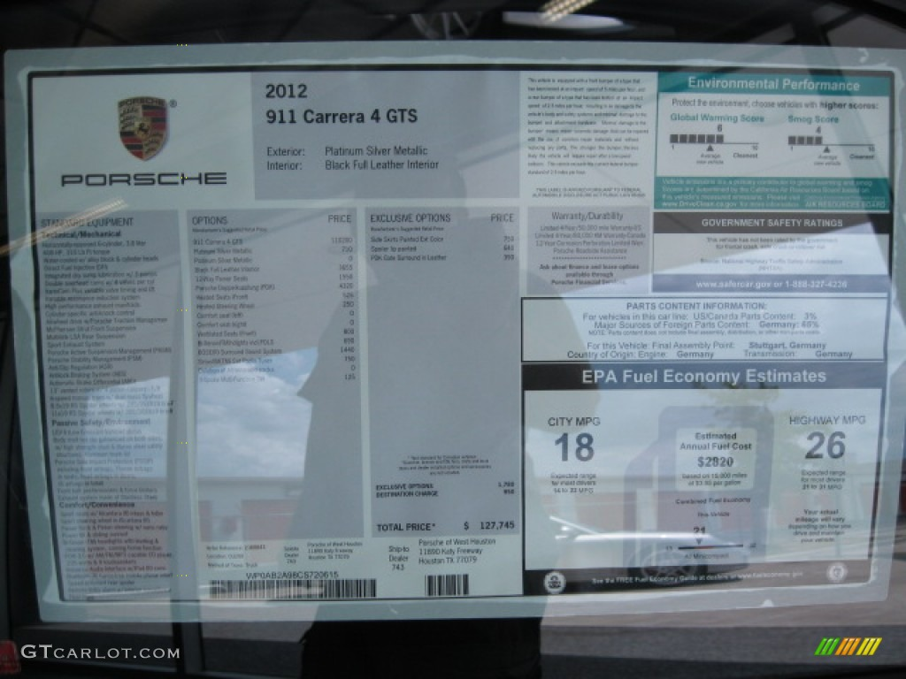 2012 Porsche 911 Carrera 4 Gts Coupe Window Sticker Photo