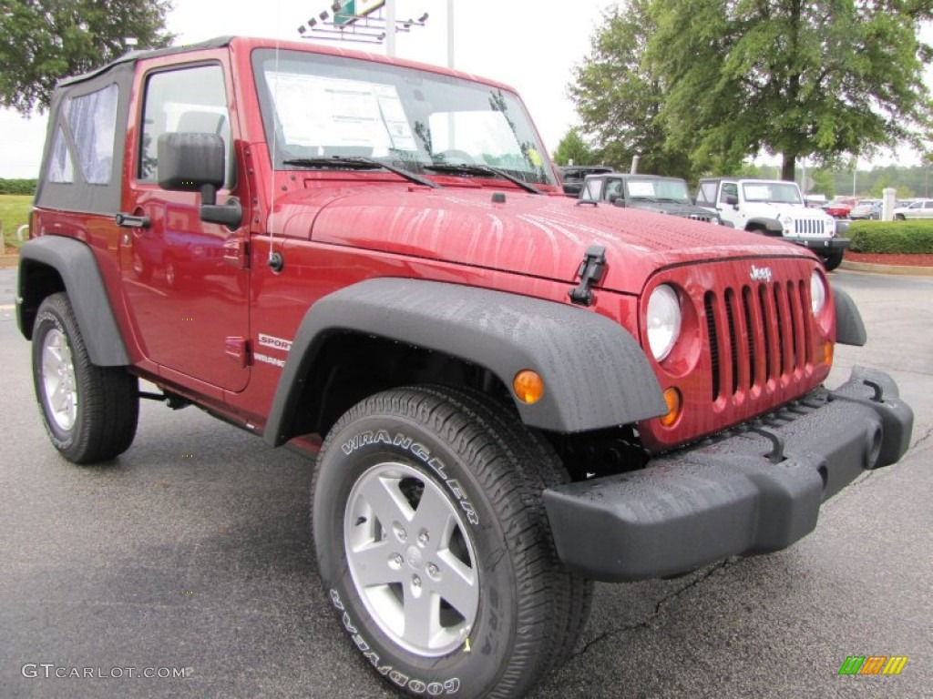 2012 Wrangler Sport S 4x4 - Deep Cherry Red Crystal Pearl / Black photo #4