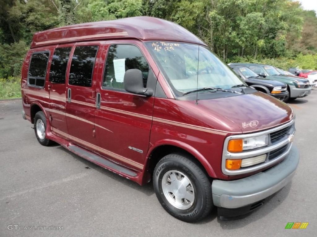 1999 express 1500 passenger conversion van dark carmine red metallic medium gray photo