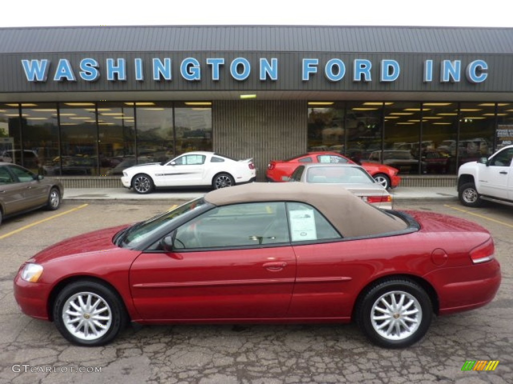 2003 Sebring LXi Convertible - Inferno Red Tinted Pearl / Sandstone photo #1