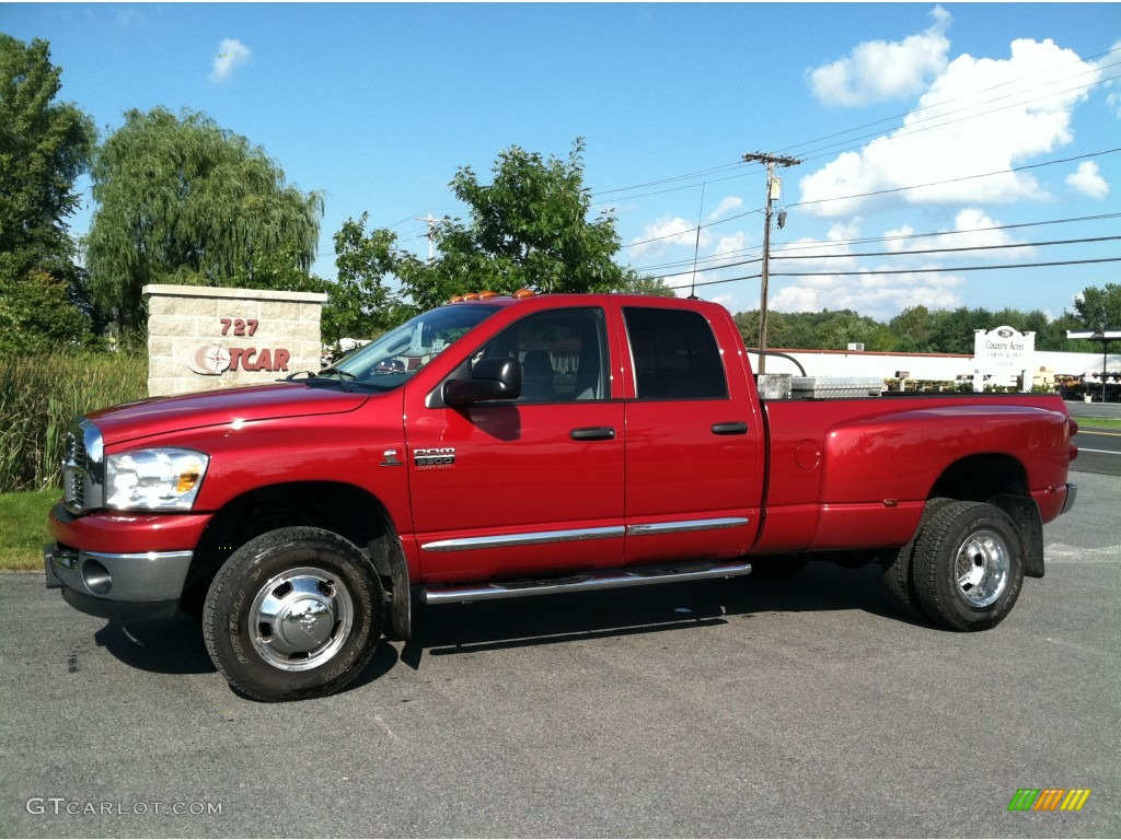 2008 Ram 3500 Big Horn Edition Quad Cab 4x4 Dually - Inferno Red Crystal Pearl / Medium Slate Gray photo #1