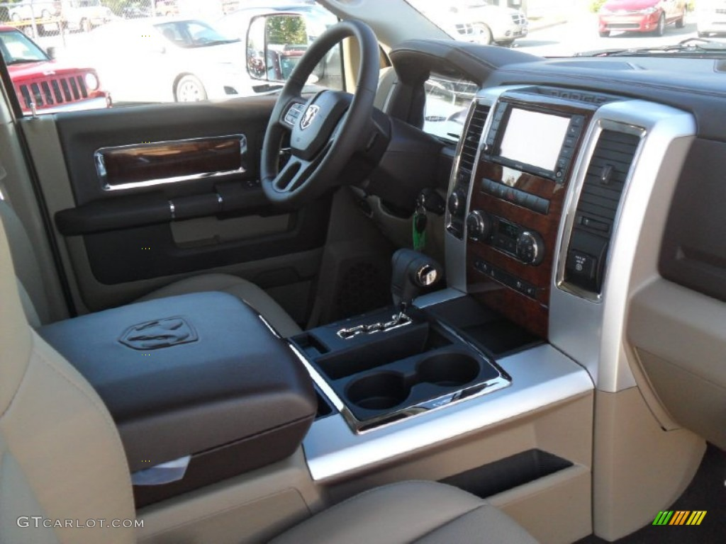 Light Pebble Beige Bark Brown Interior 2012 Dodge Ram 1500 Laramie Crew Cab 4x4 Photo 54165126