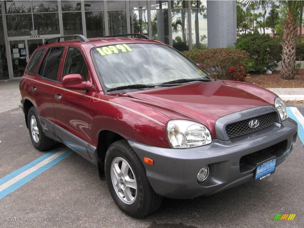 2004 Santa Fe LX - Merlot Red / Beige photo #1