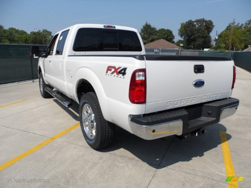 2012 F250 Super Duty Lariat Crew Cab 4x4 - White Platinum Metallic Tri-Coat / Adobe photo #5