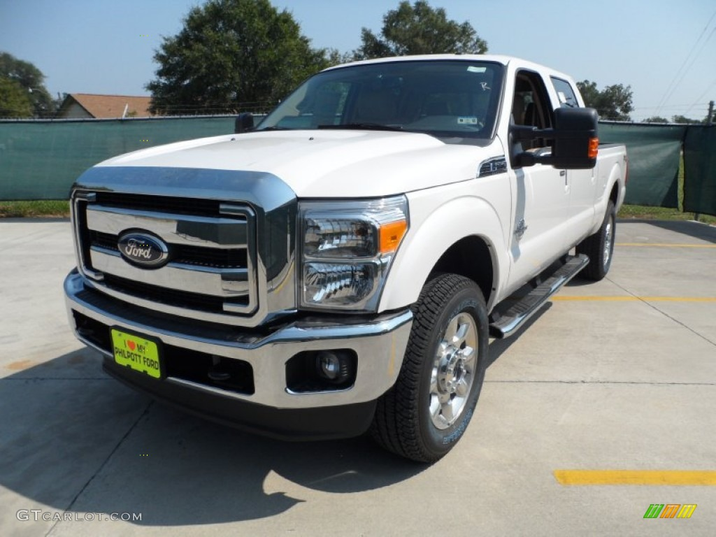 2012 F250 Super Duty Lariat Crew Cab 4x4 - White Platinum Metallic Tri-Coat / Adobe photo #7