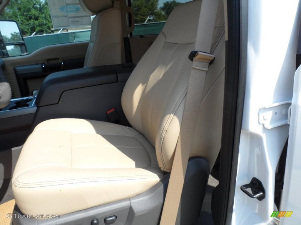 2012 F250 Super Duty Lariat Crew Cab 4x4 - White Platinum Metallic Tri-Coat / Adobe photo #27