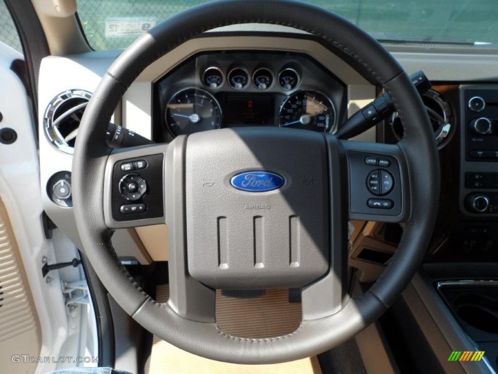 2012 F250 Super Duty Lariat Crew Cab 4x4 - White Platinum Metallic Tri-Coat / Adobe photo #36