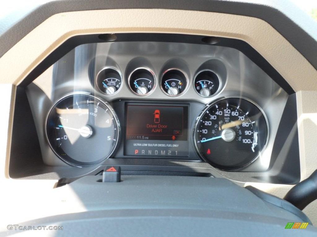 2012 F250 Super Duty Lariat Crew Cab 4x4 - White Platinum Metallic Tri-Coat / Adobe photo #37
