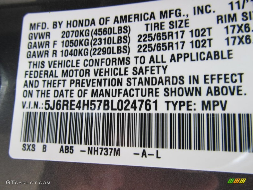 2011 CR-V EX 4WD - Polished Metal Metallic / Gray photo #14
