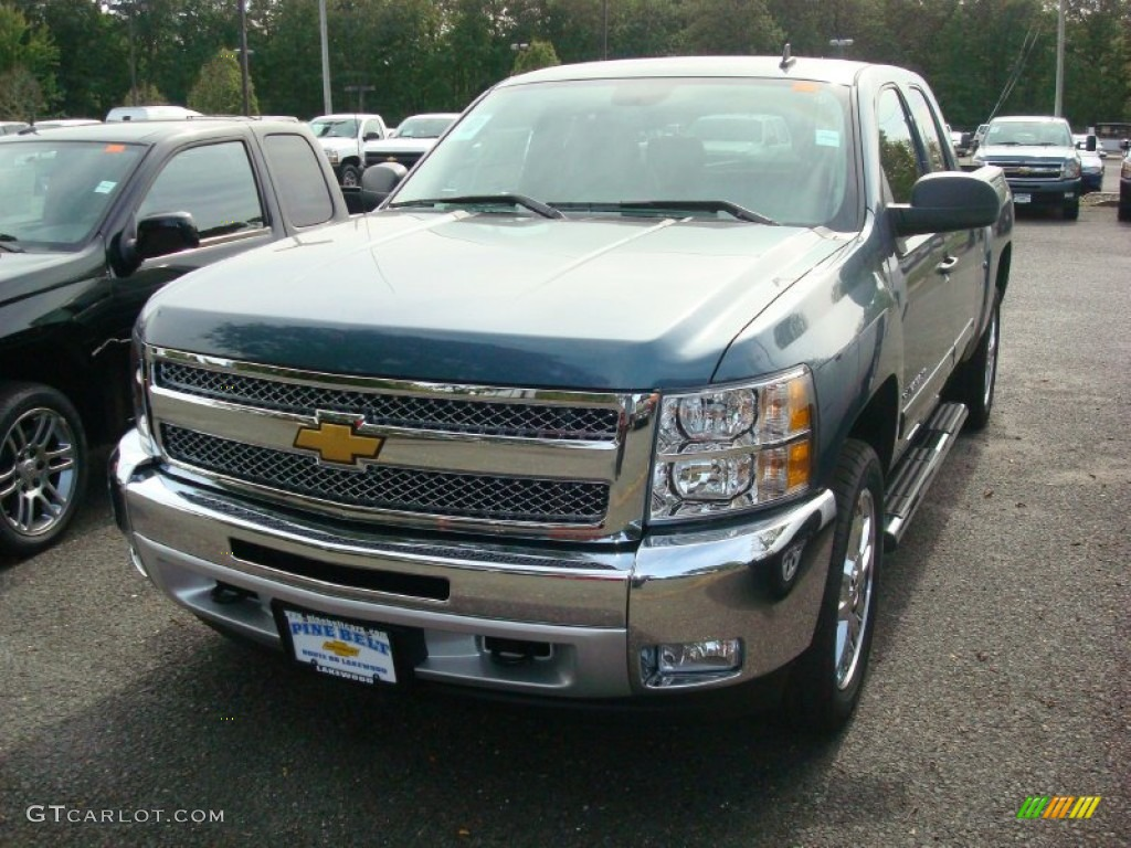 2012 Silverado 1500 LT Extended Cab 4x4 - Blue Granite Metallic / Ebony photo #1