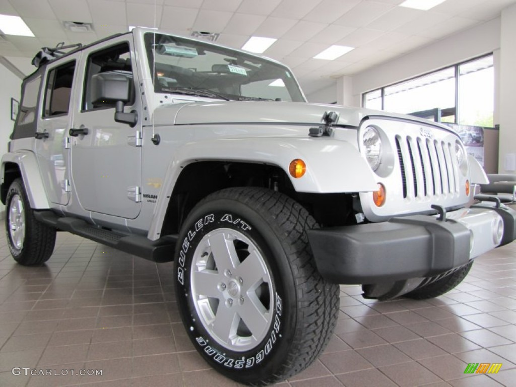 2012 bright silver metallic jeep wrangler unlimited sahara 4x4 54203892 car. Black Bedroom Furniture Sets. Home Design Ideas