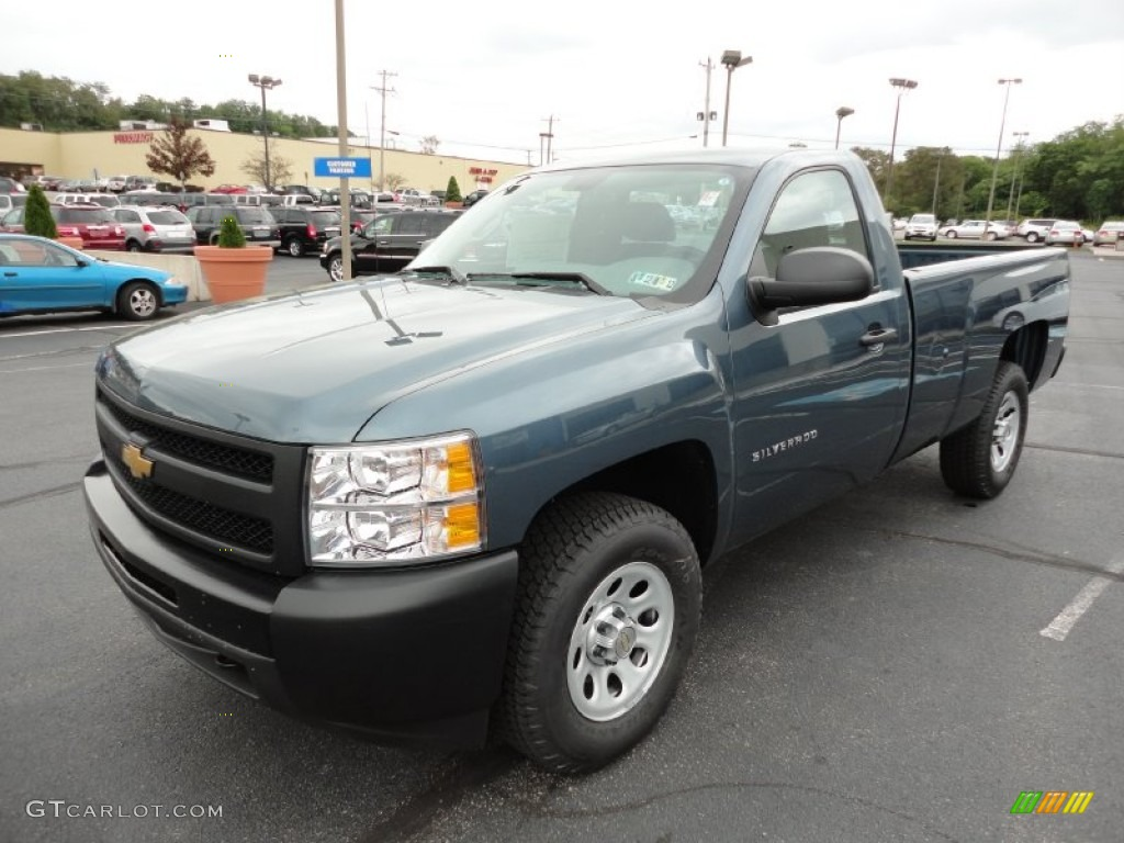 2012 Silverado 1500 Work Truck Regular Cab 4x4 - Blue Granite Metallic / Dark Titanium photo #4