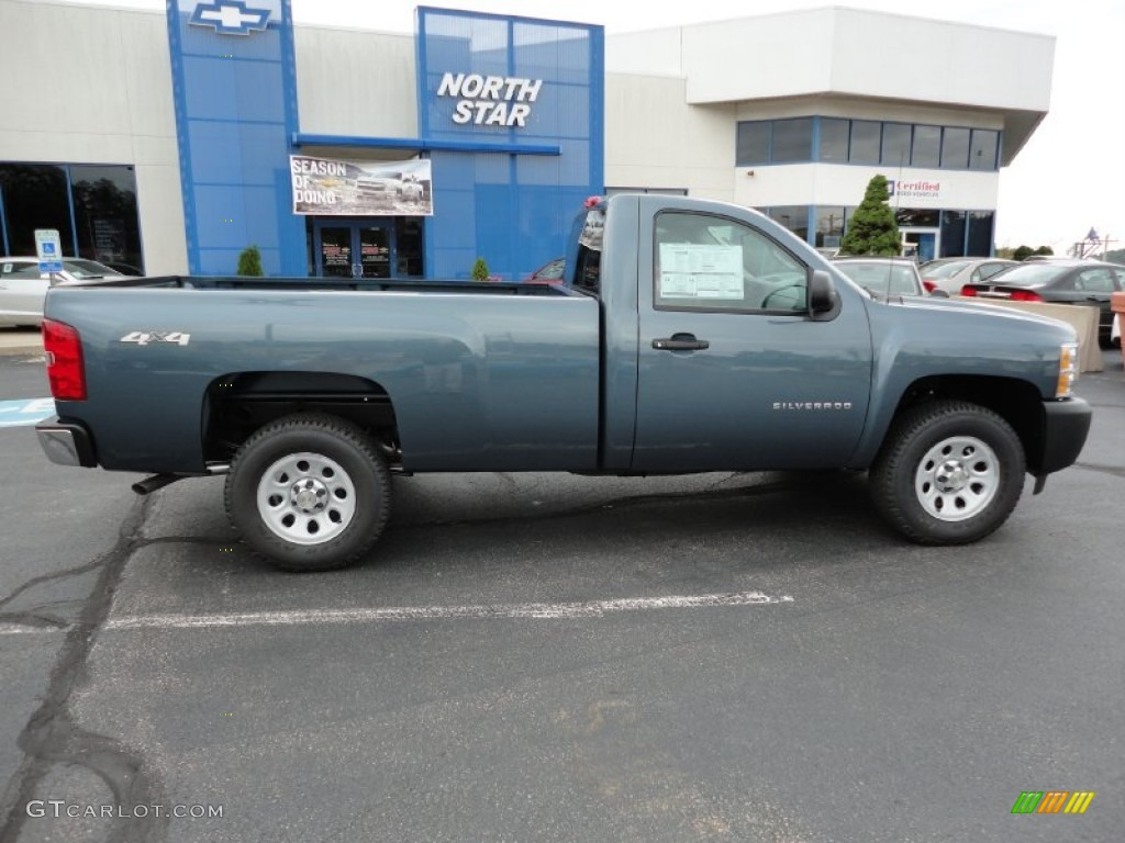 2012 Silverado 1500 Work Truck Regular Cab 4x4 - Blue Granite Metallic / Dark Titanium photo #9