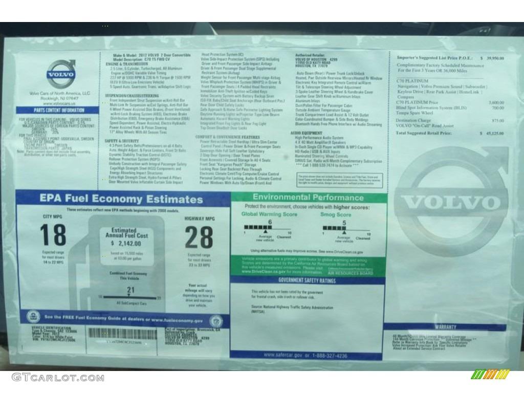 2012 volvo c70 t5 platinum window sticker photo 54268013 for 2000 volvo c70 window regulator