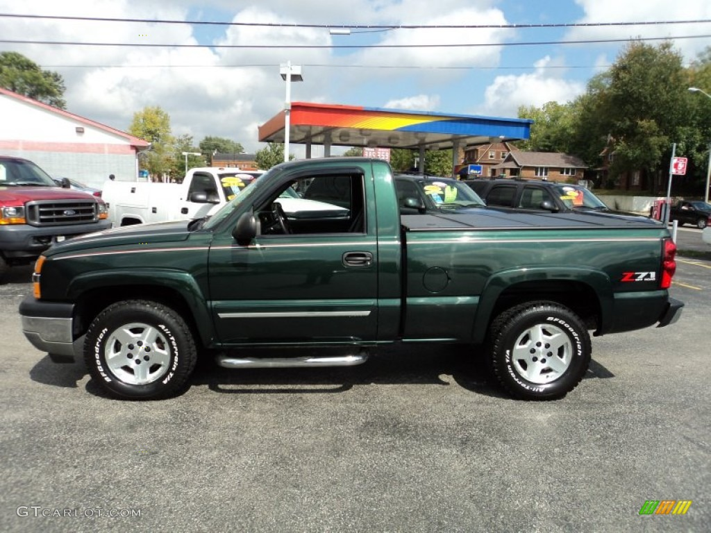 2005 silverado 1500 z71 regular cab 4x4 dark green metallic dark charcoal photo