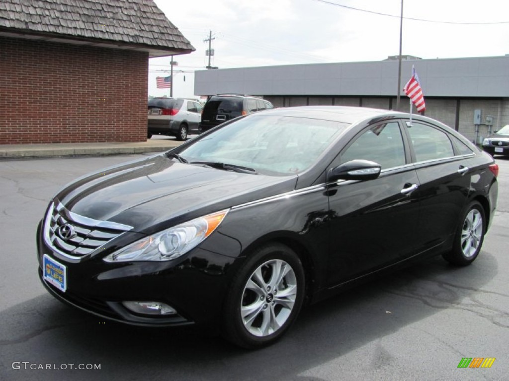 2011 Sonata Limited   Midnight Black / Wine Photo #1