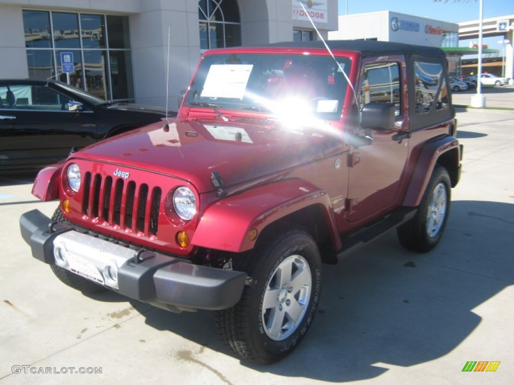2012 Wrangler Sahara 4x4 - Deep Cherry Red Crystal Pearl / Black photo #1