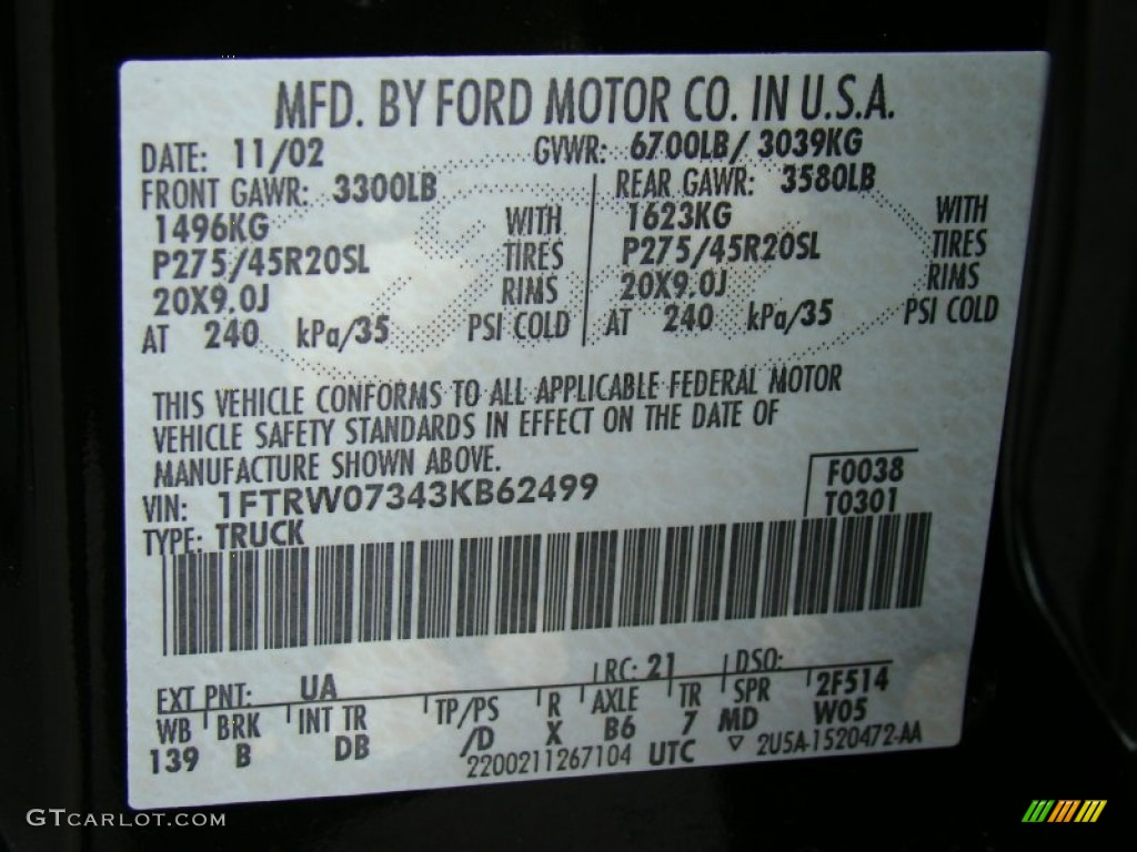 2003 Ford F150 Harley-Davidson SuperCrew Color Code Photos