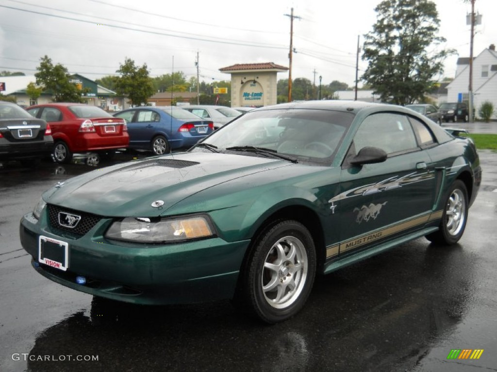 2002 Mustang V6 Coupe - Tropic Green Metallic / Medium Parchment photo #1