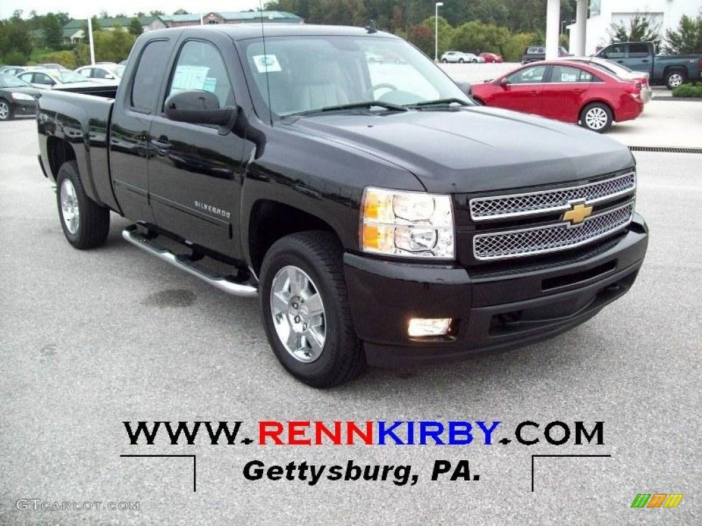 2012 Silverado 1500 LTZ Extended Cab 4x4 - Black / Light Titanium/Dark Titanium photo #1