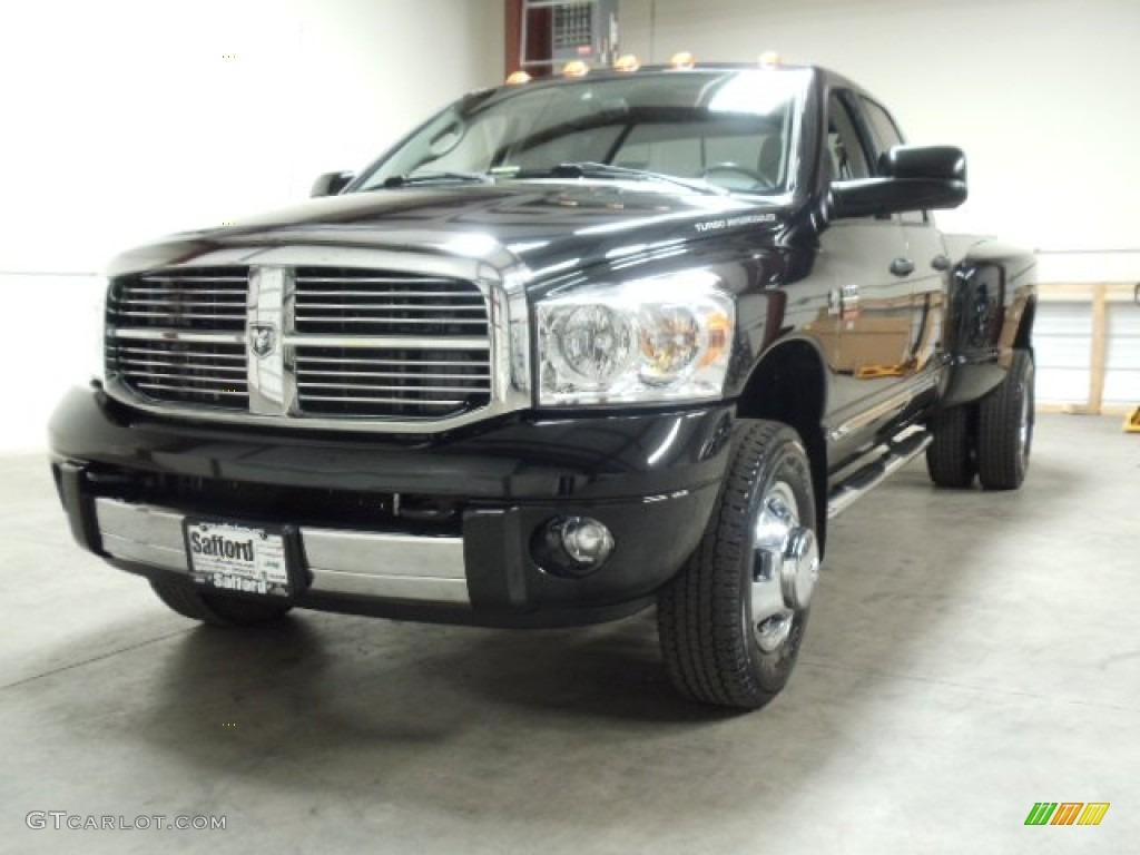 2008 Ram 3500 Laramie Quad Cab 4x4 Dually - Brilliant Black Crystal Pearl / Medium Slate Gray photo #1