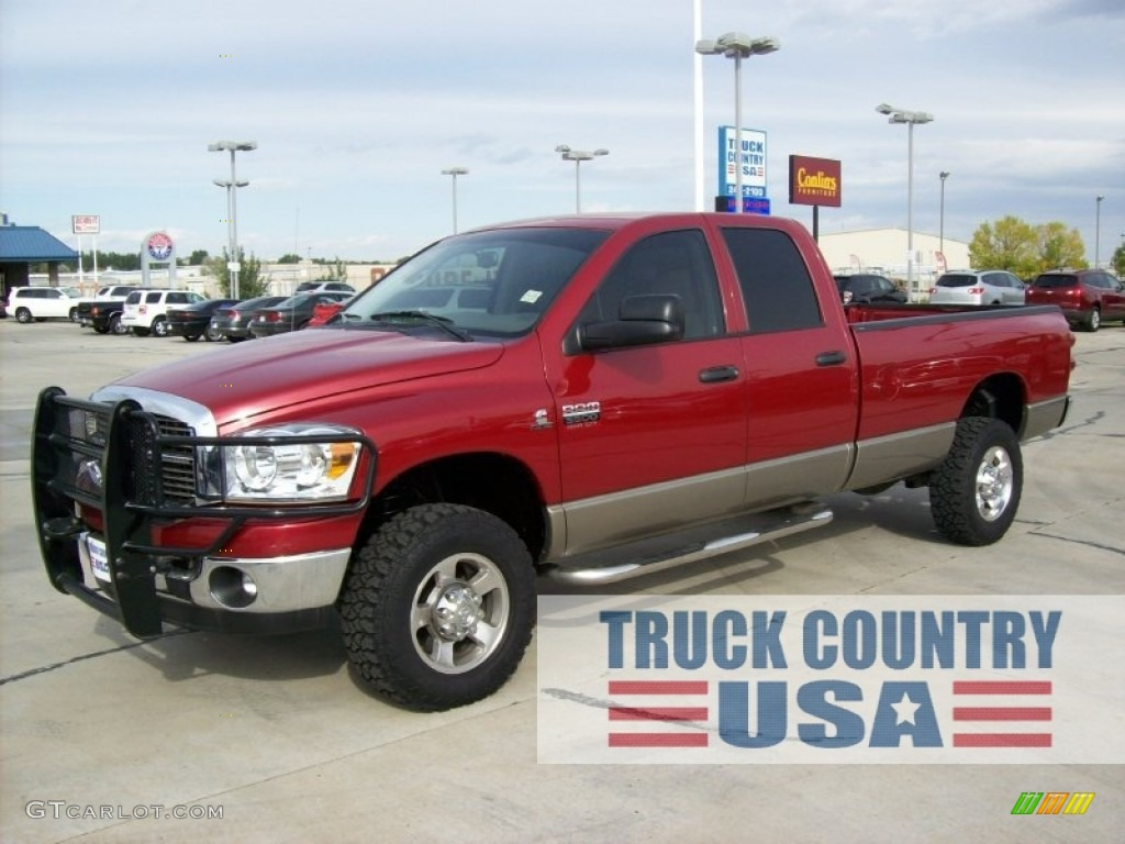 2008 Ram 3500 SLT Quad Cab 4x4 - Inferno Red Crystal Pearl / Khaki photo #1