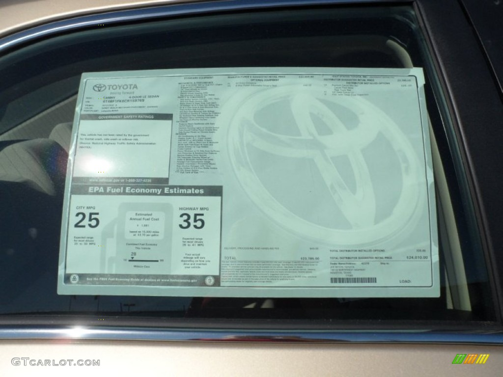 2012 toyota camry le window sticker photo 55445494 for 1995 toyota camry window regulator