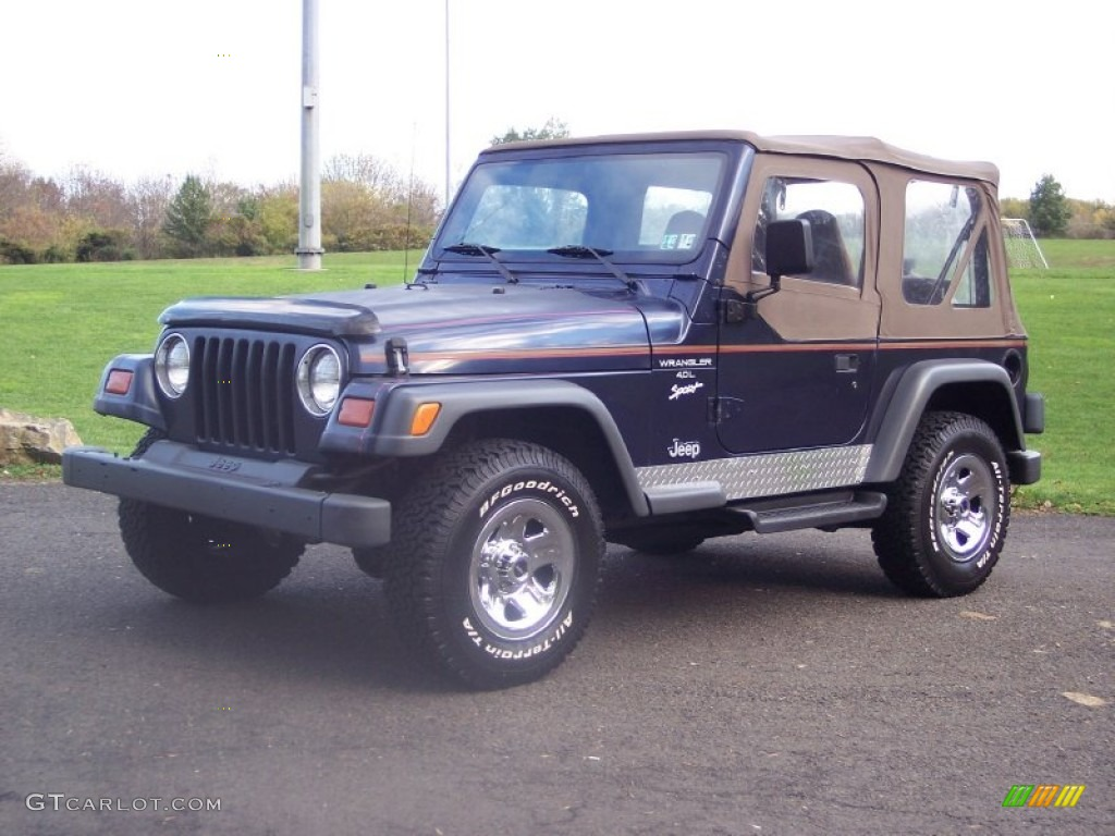 1997 jeep wrangler sport 4x4 dark blue pearl color tan interior 1997