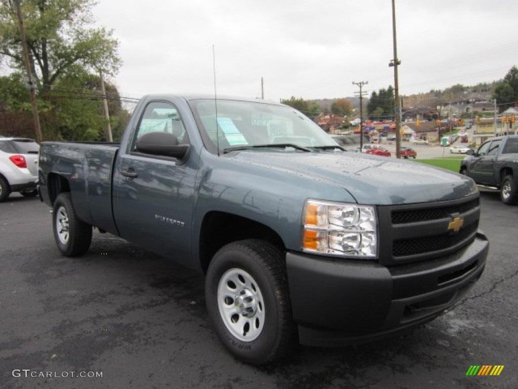 2012 Silverado 1500 Work Truck Regular Cab 4x4 - Blue Granite Metallic / Dark Titanium photo #1