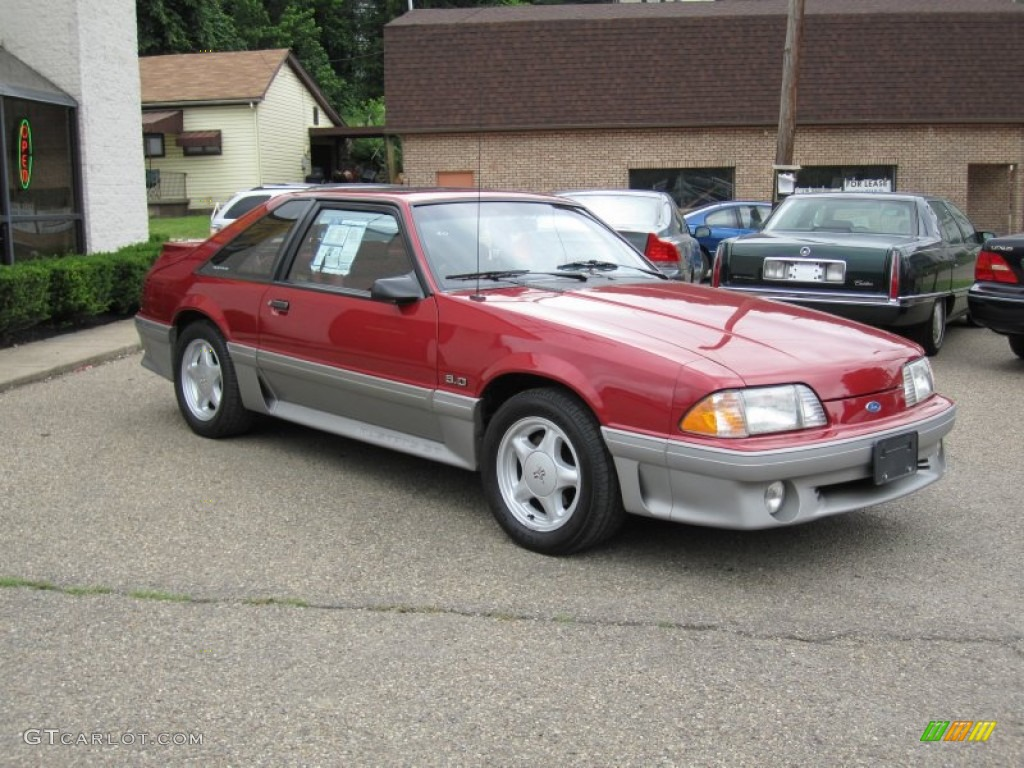 1992 mustang gt hatchback wild strawberry metallic scarlet red photo 1