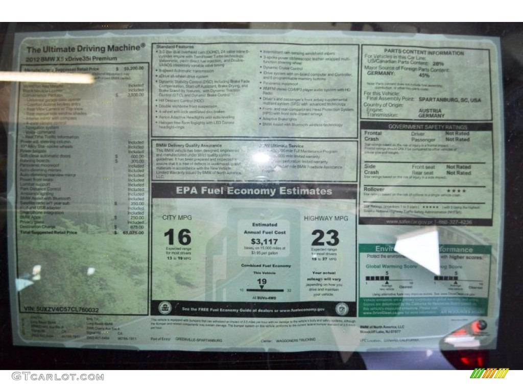 2012 Bmw X5 Xdrive35i Premium Window Sticker Photo