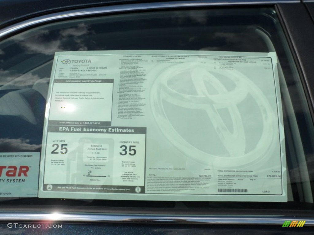 2012 toyota camry le window sticker photo 55740930 for 1995 toyota camry window regulator